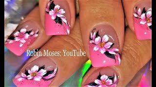 Pink Flower Nail Art Design! Spring Nails 2018 Tutorial