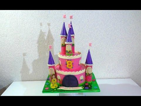"""Мастер-класс торта """"Замок"""" для девочки"""