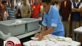 """24 Oras: Dishwasher, tagumpay sa """"one-minute"""" challenge ng KMJS sa pag-iimis ng 100 plato"""