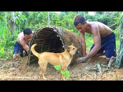 Primitive Technology DIY - Build Dog House With Mud