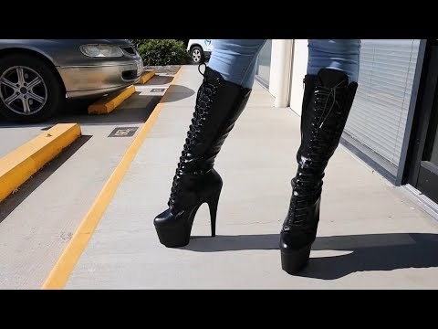 Review Try On Pleaser Adore-2023 Matte Black 7 Inch High Heel Knee Boots