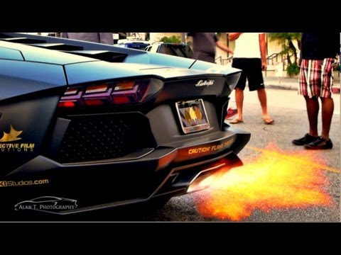 Lamborghini Aventador SHOOTING FLAMES! HUGE REVS and Loud IPE Innotech Exhaust Gold Rush Rally 5
