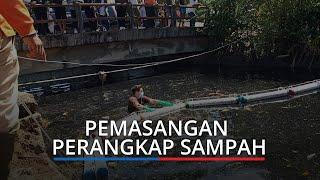 Sungai Jalan Banda Bakali di Padang Dipasang Penangkap Sampah, Antisipasi Sampah ke Laut