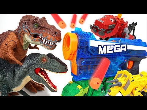 Wild giant dinosaurs appeared! Dinotrux transforming Nerf gun fire!! - DuDuPopTOY