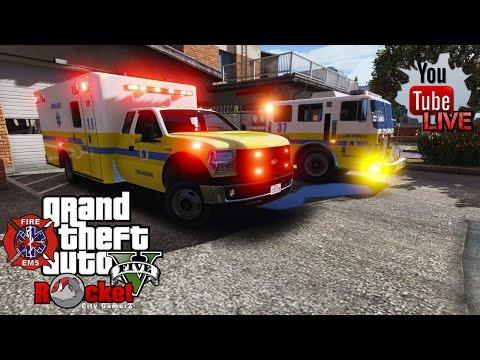GTA 5- LSPDFR EMS/FIRE LIVE   [ELS] MTL FireTruck   feat