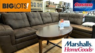 BIG LOTS COSTCO MARSHALLS HOME GOODS FURNITURE SOFAS COUCHES SHOP WITH ME STORE WALK THROUGH