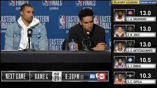 George Hill & Malcolm Brogdon postgame reaction   Raptors vs Bucks Game 3   2019 NBA Playoffs