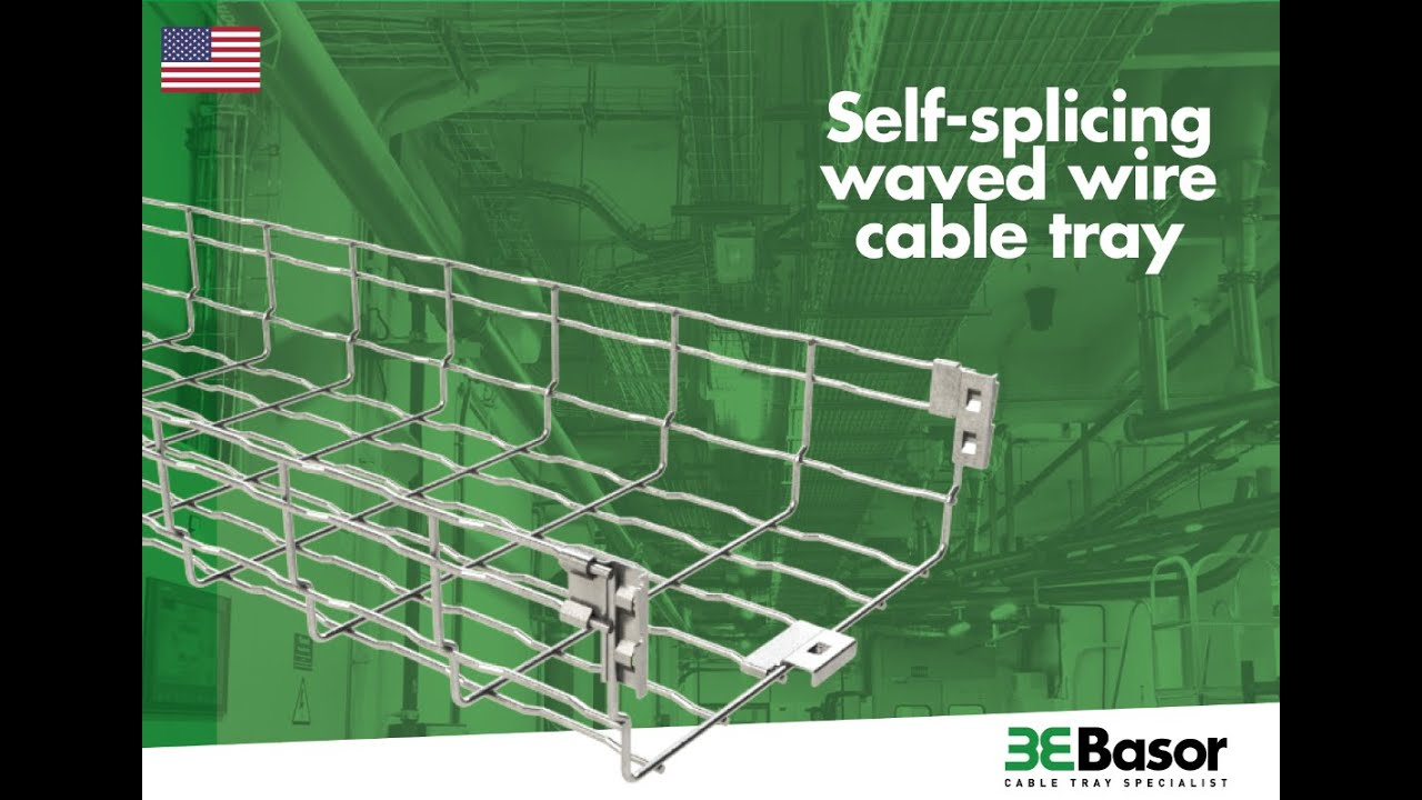 Self-splicing waved wire cable tray
