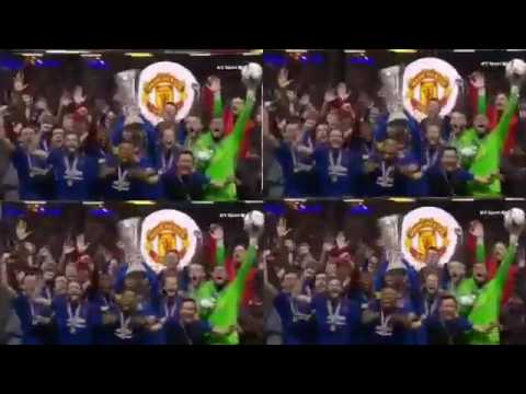 Manchester United Lifting the Europa TROPHY  Award Ceremony