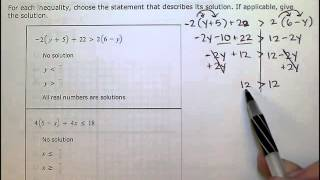 Solving inequalities with no solution or all real numbers as solutions- SB