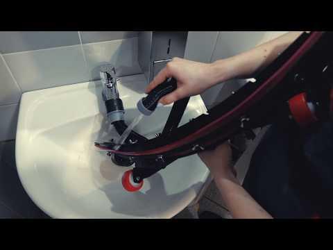 Регулировка и снятие водосборной насадки (фрагмент видео-инструкции к поломоечной машине МЕТЛАНА М50)