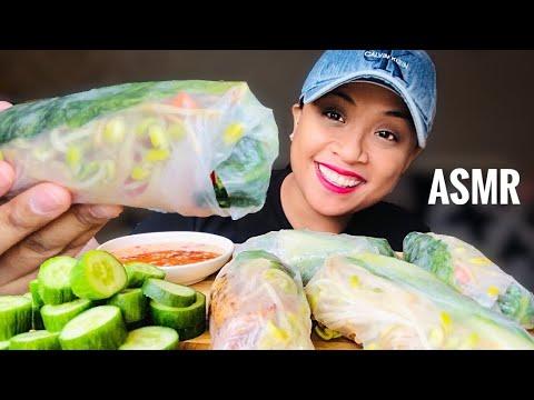 , title : 'ASMR Spring Rolls + Cucumbers + Veg Fish Sauce Mukbang (Eating Sounds) *No Talking | Eat with Haze
