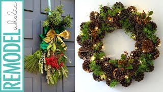 Easy Fresh Evergreen Christmas Swag & 1-Hour Pine Cone Wreath