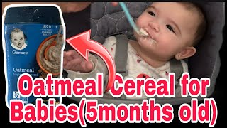 baby starting solid food | gerber oatmeal cereal | baby cereal mukbang