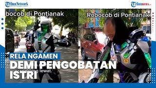 Sosok Bapak Berkostum Robot Ngamen di Pontianak, Rela Ngamen Demi Pengobatan Istri