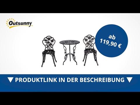 Outsunny Gartenmäbel 3 tlg. Gartenset Sitzgruppe Tisch Stuhl Metall Bronzen - direkt kaufen!