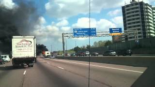 preview picture of video 'HWY401 Travel car on fire footage'