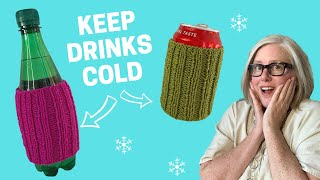 How to KNIT a DRINK COZY: Knit Flat or In-the-Round