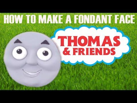 How to make a fondant Thomas the Tank Engine cake face ann reardon howtocookthat