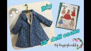 DIY 18 Inch Doll Coat Tutorial #American Girl Dolls # B6265Butterick Pattern
