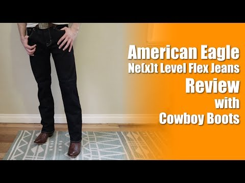 American Eagle Ne(x)t Level Flex Bootcut Jeans with Cowboy Boots