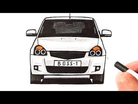 Как нарисовать машину Приору поэтапно