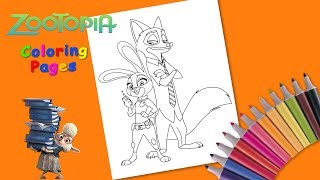 Coloring Judy Hopps & Nick Wilde. Zootopia Coloring Pages #forkids
