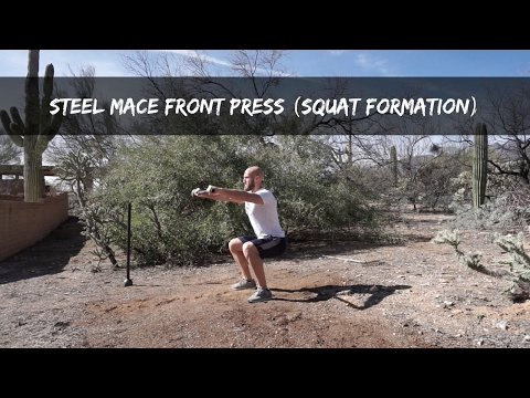 Steel Mace Squat Hold Front Press