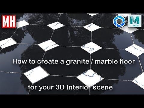 Maya 2018 tutorial : How to create a marble floor for your 3D interior scene