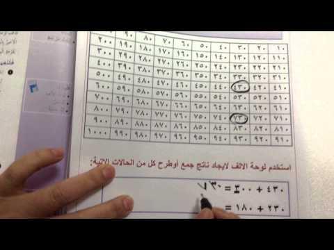 الصف الرابع الوحدة الثالثة درس 6 2 استكشاف الجمع والطرح علي لوحة الالف