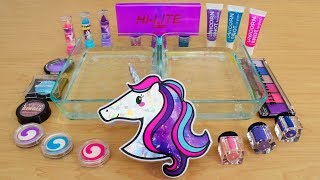 Unicorn - Mixing Makeup Eyeshadow Into Slime! Special Series 144 Satisfying Slime Video