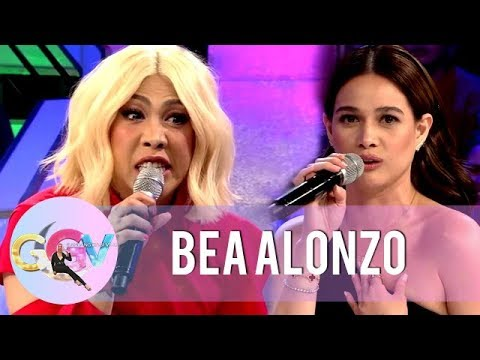 "Bea Alonzo and Vice Ganda reenact a scene from the movie ""Four Sisters and a Wedding"" 