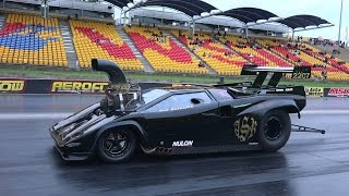 LAMBORGHINI SUPERCHARGED V8 DRAG CAR LICENCE TESTING AT SYDNEY DRAGWAY 19.12.2014