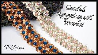 Beaded Egyptian Coil Wirework Bracelet