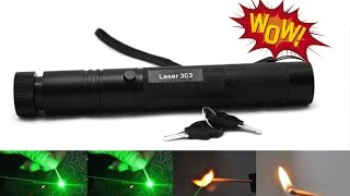 ЖЕСТЬ! Самый мощный лазер поджигает спички и лопает шарики / Лазер 303