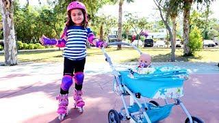 Беби Бон и Маша катаются на роликах! Видео для детей