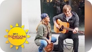 Weltstar Anastacia singt mit Straßenmusiker | SAT.1 Frühstücksfernsehen | TV