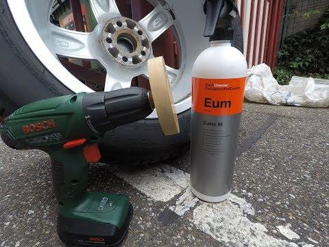 Klebstoffreste Alufelge mit Eulex M Koch Chemie Folienradierer entfernen