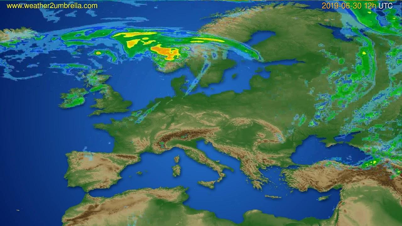Radar forecast Europe // modelrun: 00h UTC 2019-06-30