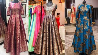 Beautiful Brocade Indian Dresses Designs Ideas/Banarsi Brocade Anarkali Dress Designs/Indo Western