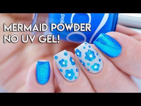 MERMAID POWDER on Regular Nail Polish - NO UV GEL! | Mermaid Effect Black
