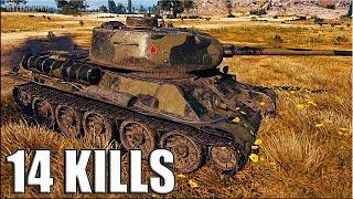 14 фрагов за бой на Т-34-85М 🌟🌟🌟 World of Tanks лучший бой прем танк  6 уровень