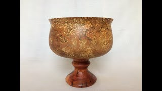 Wood Turning - Stunning Pedestal Bowl Out Of Spalted Red Alder And Yew