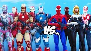 IRON MAN ARMY VS SPIDER-VERSE - SPIDERMAN, SPIDER-GWEN, ULTIMATE SPIDERMAN, SPIDER-MAN 2099