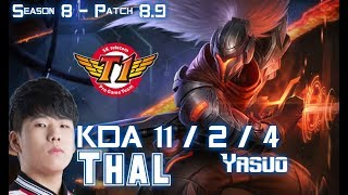 SKT T1 Thal YASUO Vs ORNN Top - Patch 8.9 KR Ranked