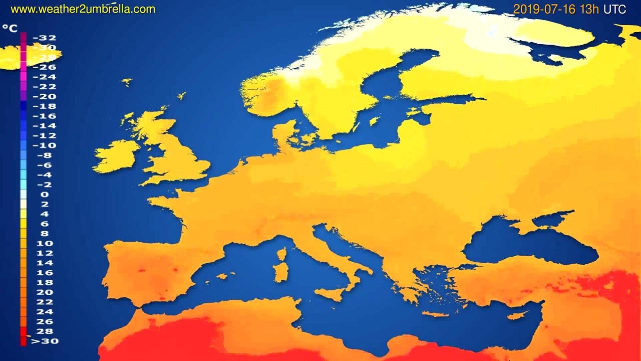 Temperature forecast Europe // modelrun: 12h UTC 2019-07-14