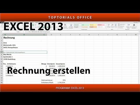 Rechnung / Quittung erstellen ganz einfach (Excel)