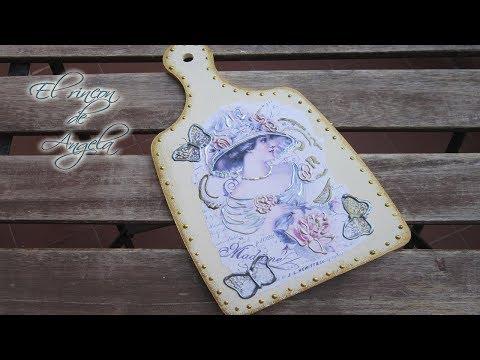 Manualidades -Tabla de madera decorada con decoupage y perlas liquidas