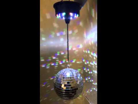 Discokugel 15cm + LED Batterie Motor