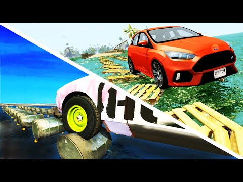 Trash floating bridge Crashes - BeamNG Drive | CrashTherapy